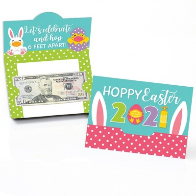 Big Dot of Happiness Quarantine Easter - 2021 Egg and Bunny Party Money and Gift Card Holders - Set of 8