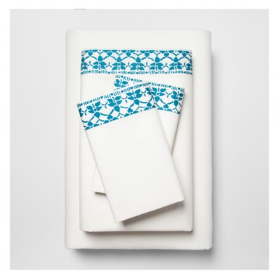 Cotton Percale Print Sheet Set (Queen)Teal Border - Opalhouse™