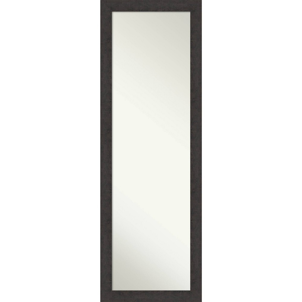 "Image of ""17"""" X 51"""" Rustic Plank Narrow Framed on The Door Full length Mirror Espresso Brown - Amanti Art"""
