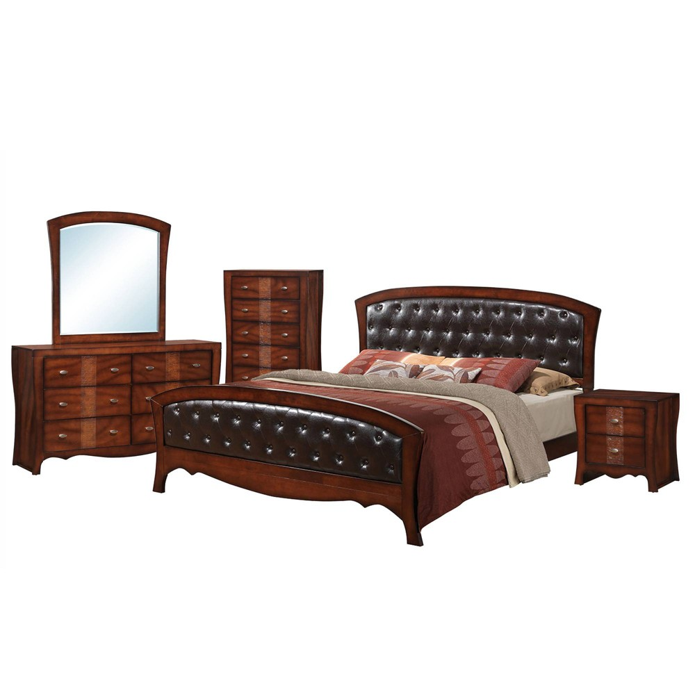 5pc King Jansen Panel Bedroom Set Espresso Brown - Picket House Furnishings