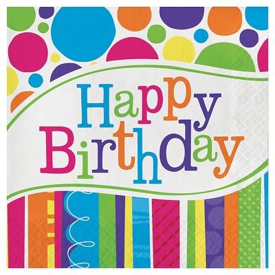 18ct Bright And Bold Birthday Napkins
