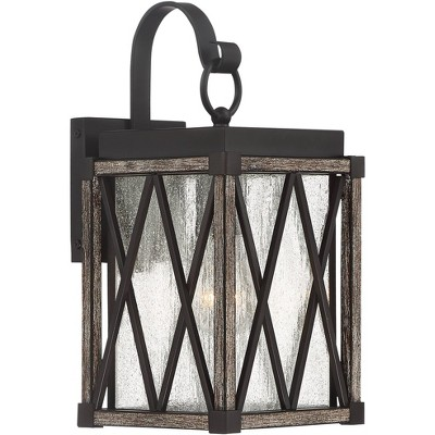 """Possini Euro Design Rustic Outdoor Wall Light Fixture Bronze Wood 13 1/2"""" Clear Seedy Glass Lantern for Exterior House Porch Patio"""