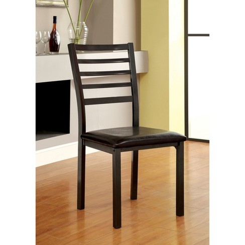 ioHomes Slat Back Padded Leatherette Side Chair Metal/Black (Set of 2) - image 1 of 2