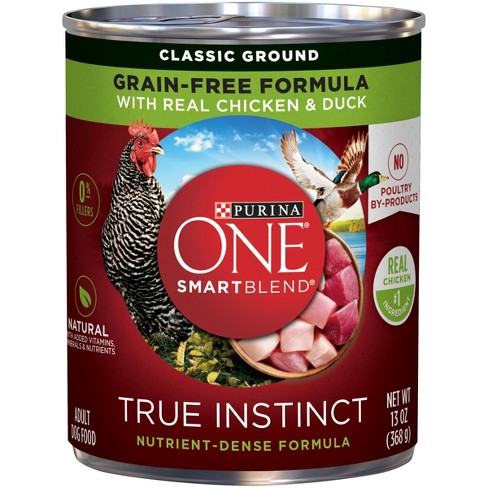 Purina ONE SmartBlend True Instinct Grain Free Classic Ground Wet Dog Food with Real Chicken & Duck - 13oz - image 1 of 4