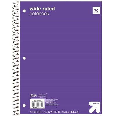 Wide Ruled 1 Subject Flexible Paperboard Cover Spiral Notebook - up & up™