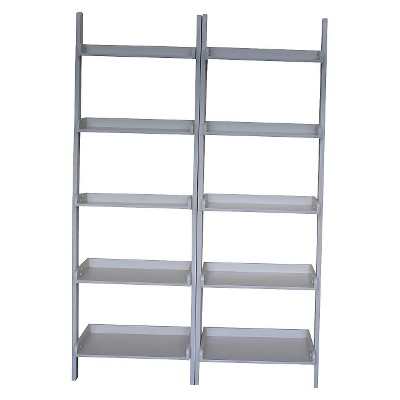 """Set of 2 75.5"""" 5 Shelf Leaning Bookcases - International Concepts"""