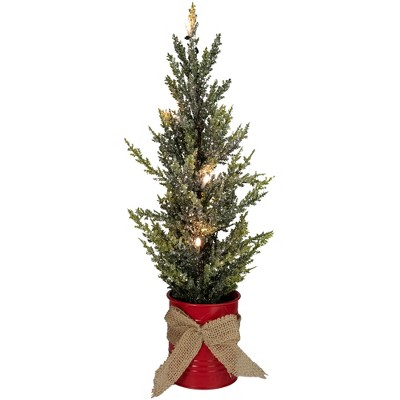 "Northlight 16"" LED Lighted Red Potted Artificial Tabletop Iced Christmas Tree Decoration - Clear Lights"