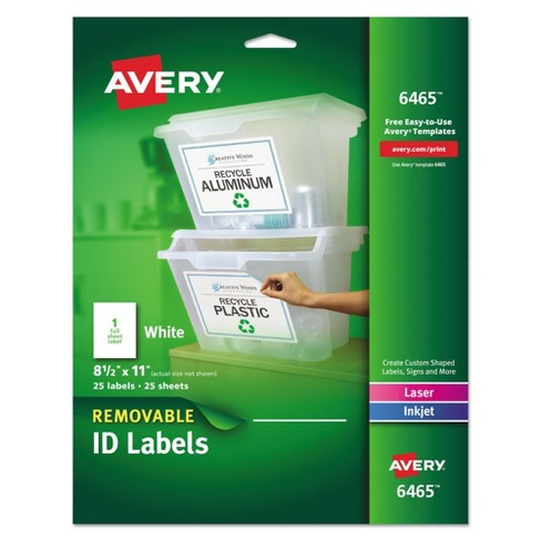Avery® 06465, Removable Multi-Use Labels, 8 1/2 x 11, White, 25/Pack - image 1 of 3
