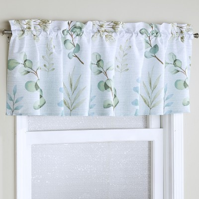 Lakeside Botanical Leaves and floral Accents Window Valance with Rod Pocket