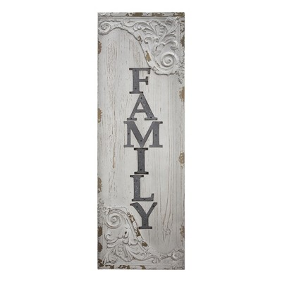 "12"" x 36"" Family Wood and Metal Vintage Wall Plaque Sign White - American Art Decor"