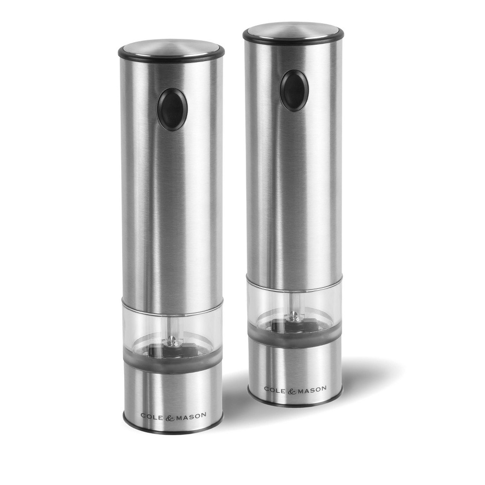 "Image of ""Cole & Mason 8"""" Stainless Steel Electronic Salt and Pepper Mill Gift Set, Silver"""