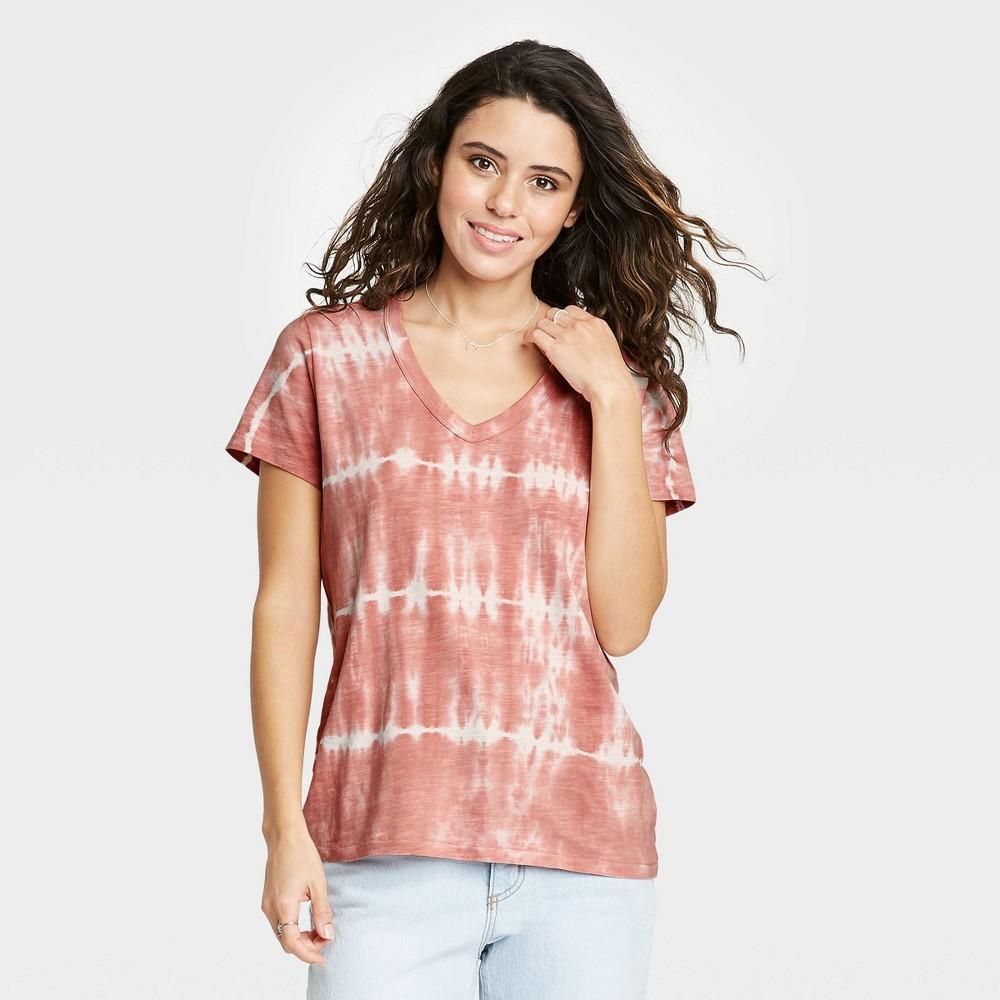 Women 39 S Tie Dye Short Sleeve V Neck T Shirt Universal Thread 8482 Rosewood White Xs