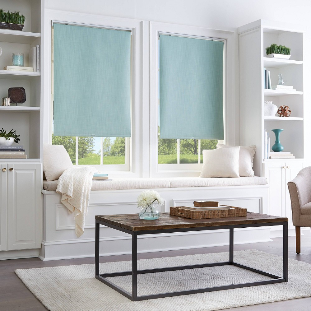 "Image of ""27""""x64"""" Room Darkening Window Shade Panel Aqua - CHF Industries, Green"""