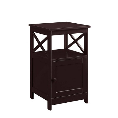 Oxford End Table with Cabinet Espresso - Breighton Home