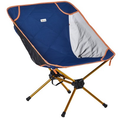 Outsunny Camping Backpack Chair with Padded Compact Folding Lightweight Chair with Back Hanging Design Portable Carry Bag for Garden Fishing Beach