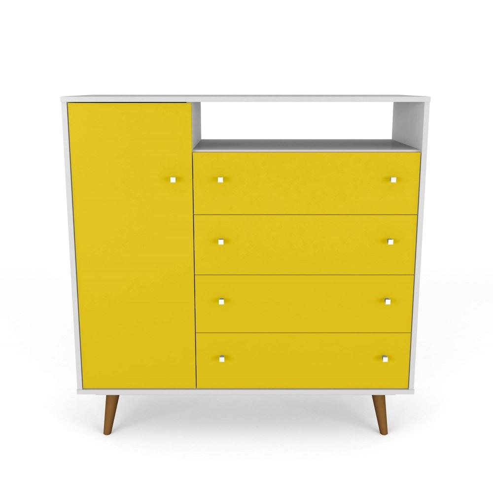 42.32 Liberty 4 Drawer Sideboard White/Yellow - Manhattan Comfort