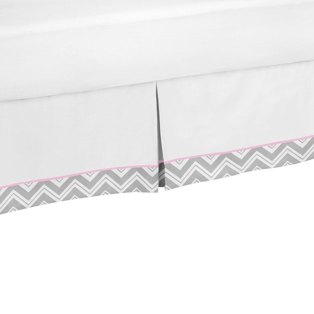 Sweet JoJo Designs Bed Skirt Pink & Gray, White/Pink/Grey