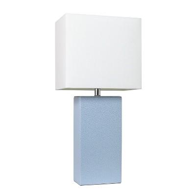 "21"" Monaco Avenue Modern Leather Table Lamp Periwinkle - Elegant Designs"