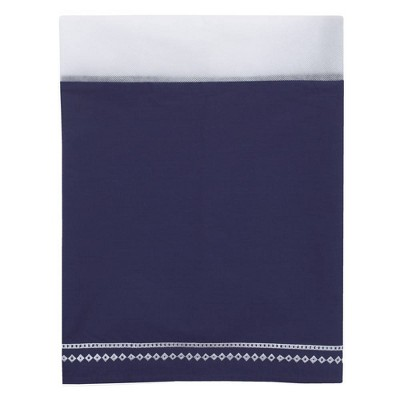 NoJo Aztec Mix & Match Nursery Crib Bedskirt Dust Ruffle with Embroidered Trim - Navy