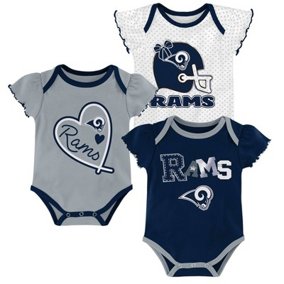 NFL Los Angeles Rams Baby Girls' Newest Fan 3pk Bodysuit Set - 3-6M