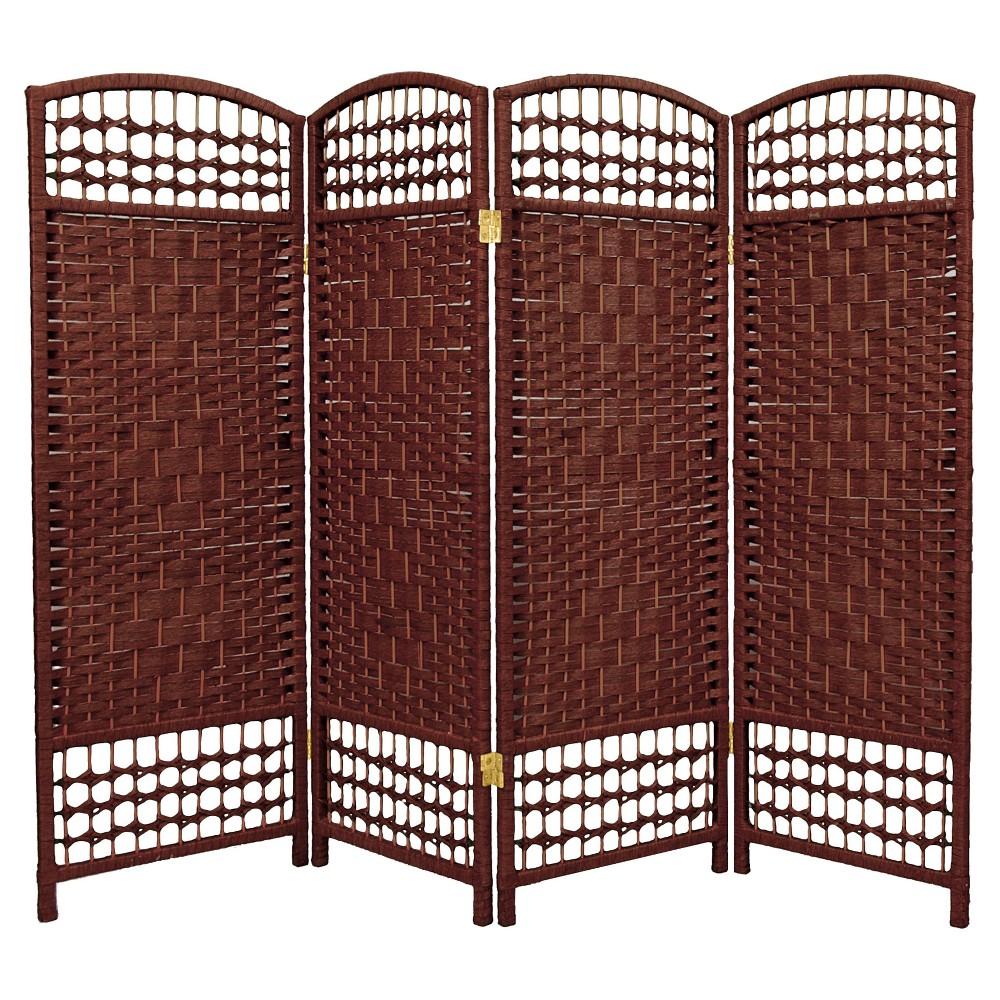 Image of 4 ft. Tall Fiber Weave Room Divider - Dark Red (4 Panels) - Oriental Furniture, Russet