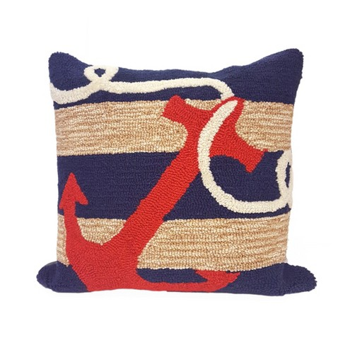 "Navy Anchor In/Ot Throw Pillow (18""x18"") - Liora Manne - image 1 of 1"