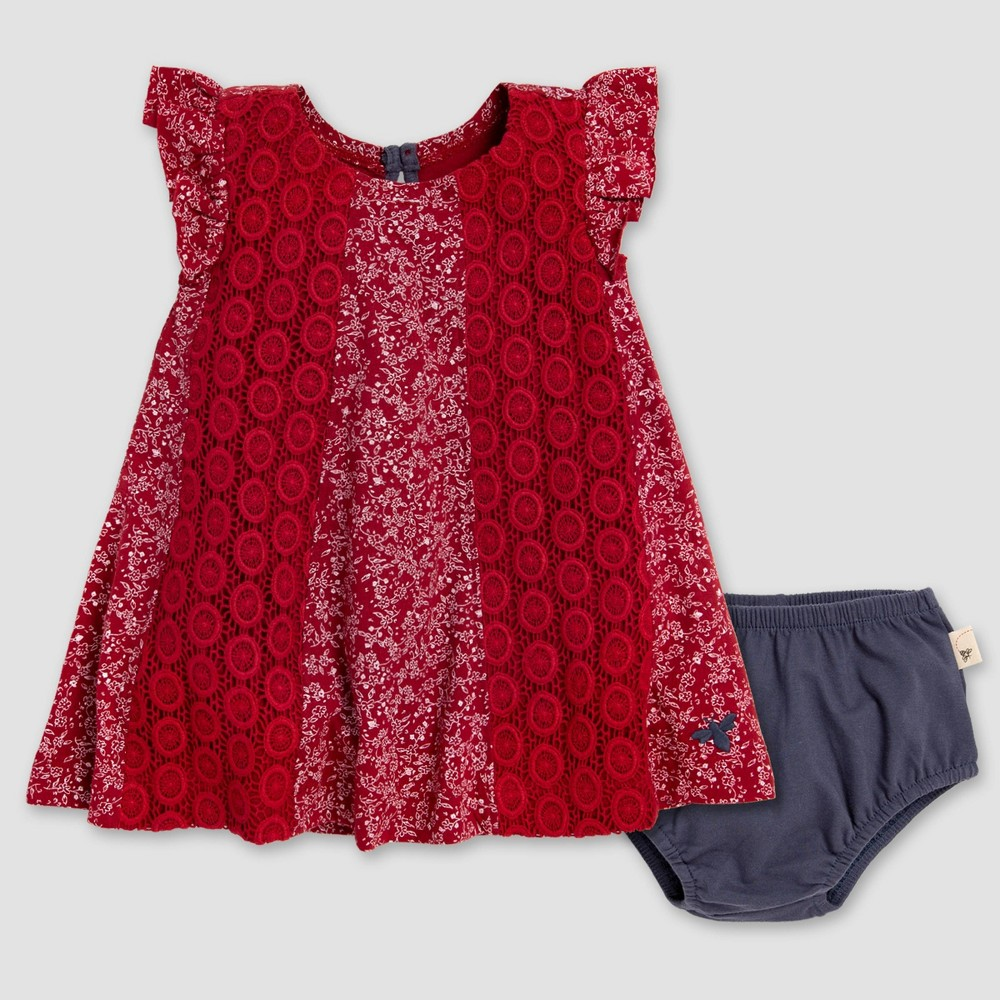 Burt's Bees Baby Baby Girls' Dainty Floral Crochet Dress & Diaper Cover Set - Red/Navy Blue 24M