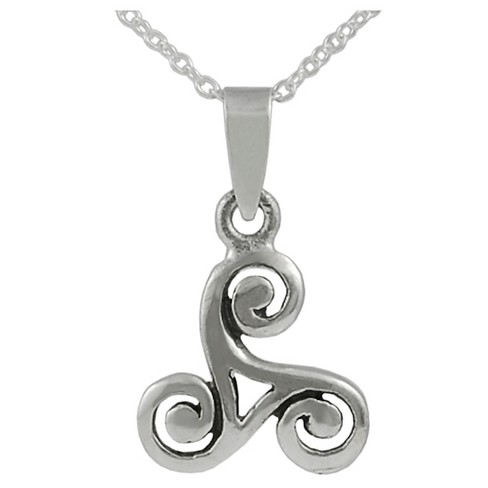 Women's Journee Collection Celtic Triskele Knot Pendant Necklace in Sterling Silver - Silver - image 1 of 2