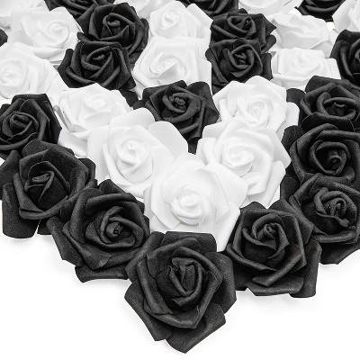 "Bright Creations 3"" Black & White Artificial Rose Fake Flower Heads for Making Bouquets and Decor, 100 Pack"