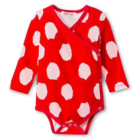 Baby Nay Irregular Dots Long Sleeve Kimono Bodysuit - Red - image 1 of 1