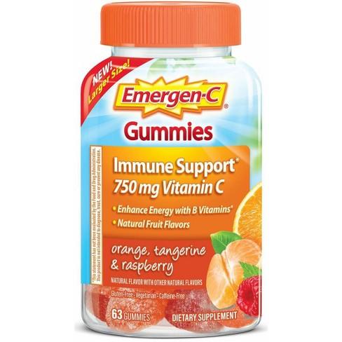 Emergen-C Immune Support Vitamin C Gummies - Orange, Tangerine & Raspberry - 63ct - image 1 of 4