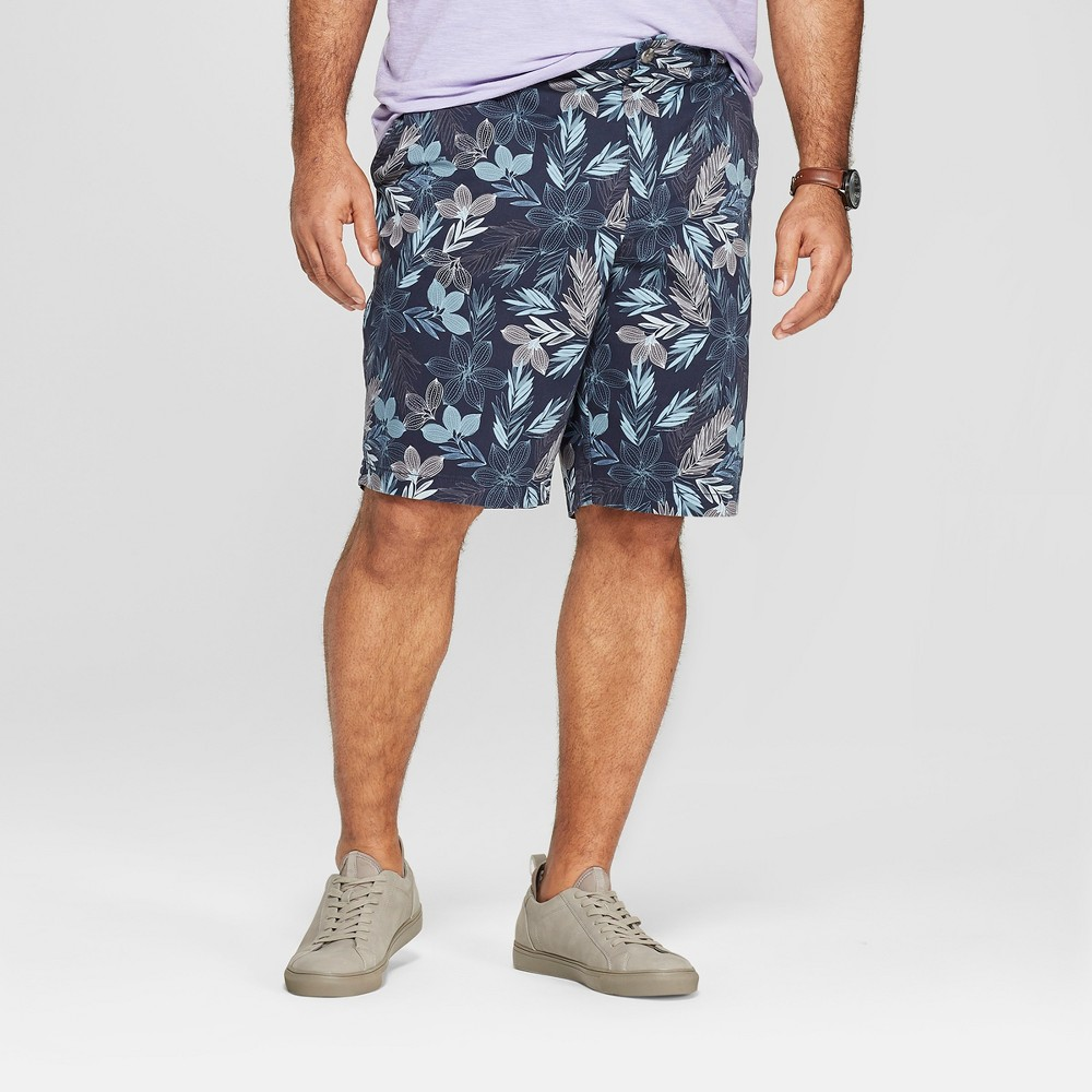 Men's Big & Tall 10.5 Floral Print Shorts - Goodfellow & Co Xavier Navy 44
