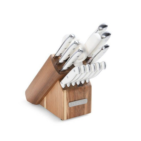 Sabatier 15pc White Knife Set With Acacia Block Target
