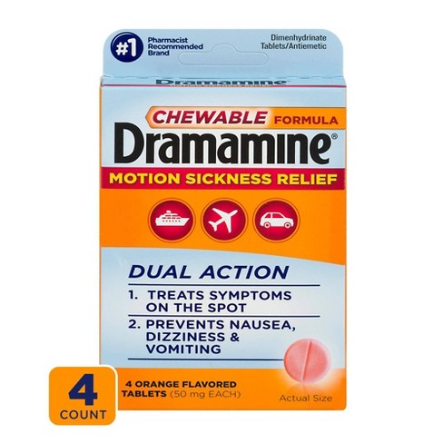 Dramamine Motion Sickness Relief Tablets - Orange Flavored - 4ct - image 1 of 3