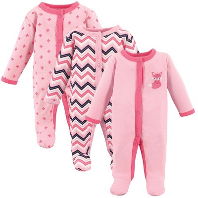 Luvable Friends Baby Girl Cotton Preemie Snap Sleep and Play 3pk, Foxy, Preemie
