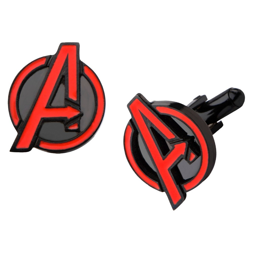 Men's Marvel The Avengers Logo Stainless Steel Cufflinks - Black/Red