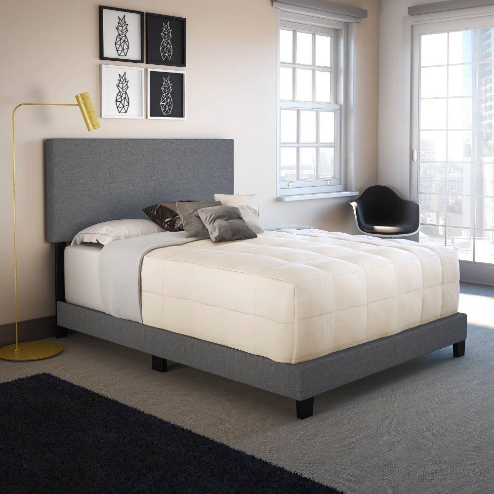Full Monroe Linen Upholstered Platform Bed Frame Gray Eco Dream