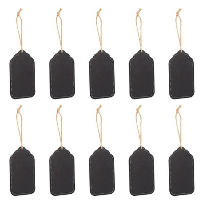 Juvale 10-Pack Chalkboard Tags Hanging Mini Chalkboard Signs & Strings, Arts and Crafts Message Tags 4x2.4""