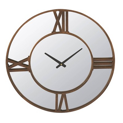 Metal Wall Clock Mirror with Gold Finish Trim - 3R Studios
