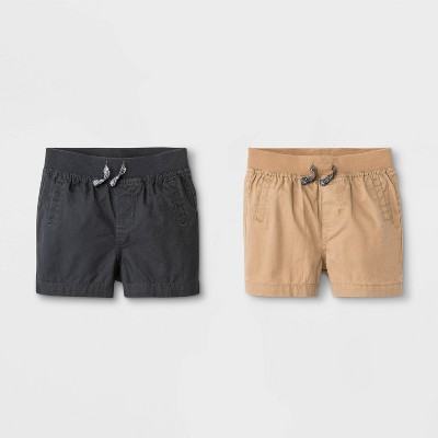 Baby Boys' 2pk Woven Pull-On Shorts - Cat & Jack™ Brown/Black 3-6M