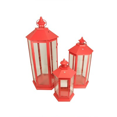 Christmas Central Set of 3 Red Traditional Style Pillar Candle Holder Lanterns 27""