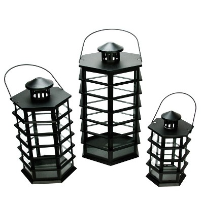 "Northlight Set of 3 Black Modern Design Glass Pillar Candle Lanterns 10.5"" - 18.5"""