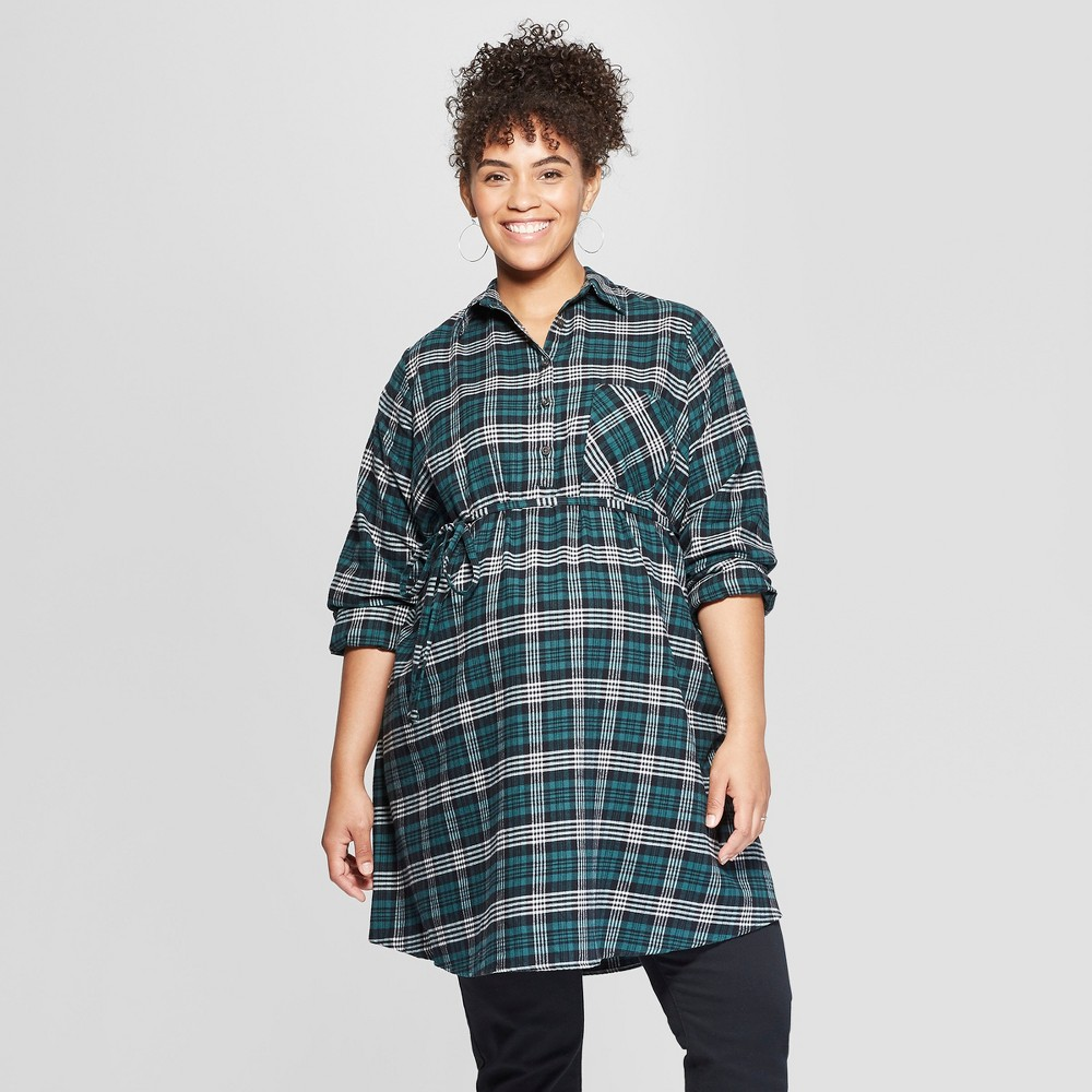 Maternity Long Sleeve Plus Size Plaid Flannel Popover Tunic - Isabel Maternity by Ingrid & Isabel Green 3X, Infant Girl's