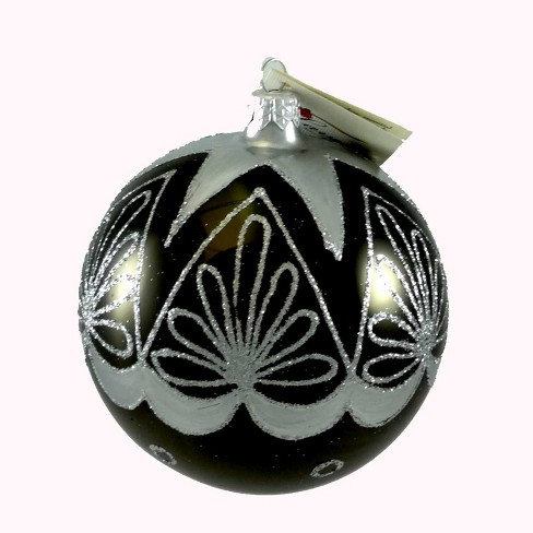 Laved Italian Ornaments Black Ball Silver Top Star Christmas  -  Tree Ornaments - image 1 of 3