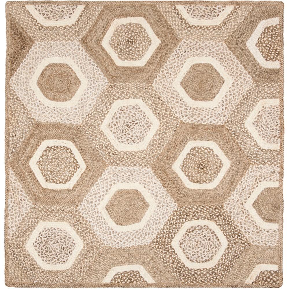 6'X6' Geometric Woven Square Area Rug Gray/Ivory - Safavieh