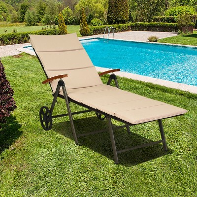 Costway Aluminum Rattan Lounger Recliner 5-Position Adjustable Chair Turquoise\Red