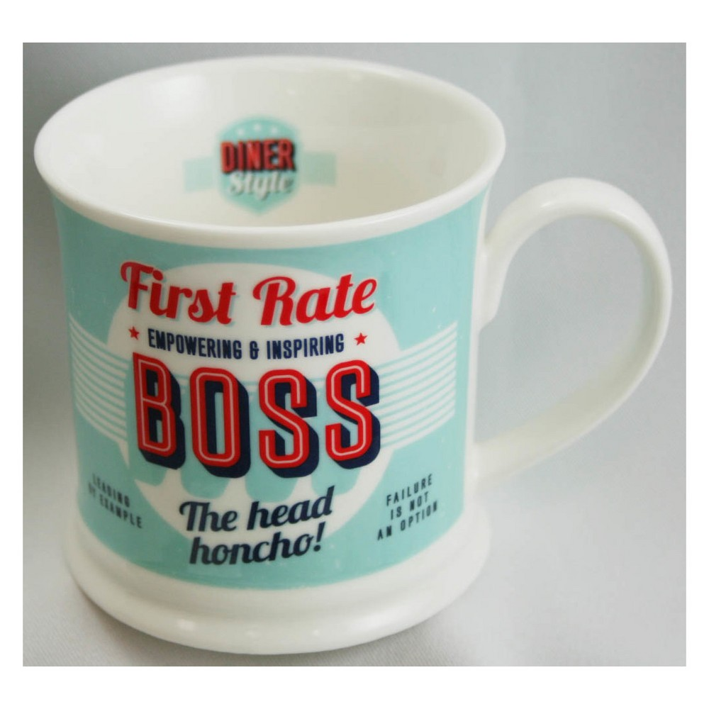 """Image of """"""""""""First Rate Boss"""""""" Diner Style Mug, Blue"""""""