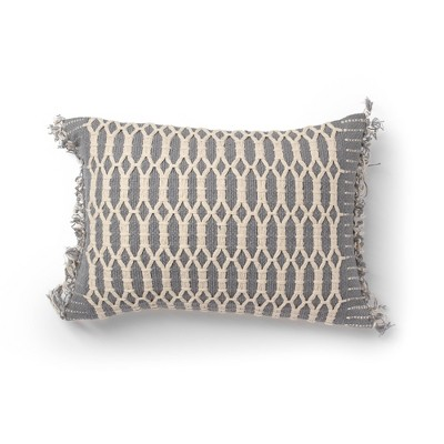 "14""x20"" Shemmy Woven Decorative Throw Pillow Gray - SureFit"