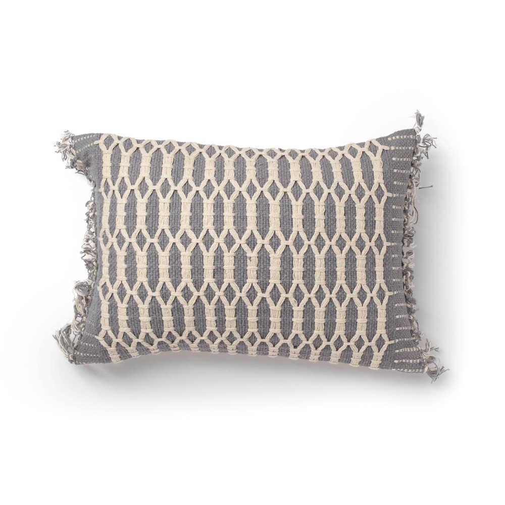 "Image of ""14""""x20"""" Shemmy Woven Decorative Throw Pillow Gray - SureFit"""