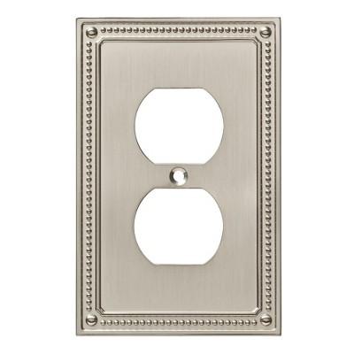 Franklin Brass Classic Beaded Single Duplex Wall Plate Nickel
